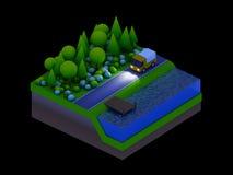 De isometrische stadsgebouwen, het landschap, de Weg en de rivier, nacht scen Royalty-vrije Stock Fotografie