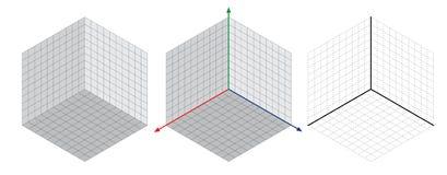 De isometrische tekening wordt een degreesangle dertig toegepast op zijn kanten De kubus tegenover Isometrische Netvector royalty-vrije illustratie