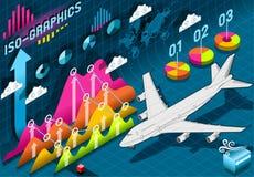De isometrische Vastgestelde Elementen van Infographic met Vliegtuig Royalty-vrije Stock Afbeeldingen