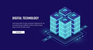 De isometrische vector, futuristische technologie van de serverruimte van gegevensbescherming en verwerkings, voorzien van een ne vector illustratie