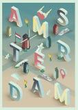 De isometrische vector typografische affiche van Amsterdam Stock Afbeelding