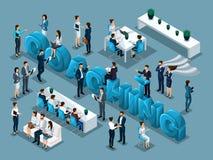 De isometrische vector van beeldverhaalmensen, plaatste 3d zakenlieden, concept de opleiding van personeel, coacher, groot woord  royalty-vrije illustratie