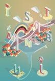 De isometrische vectoraffiche van illustratieistanboel Stock Foto's