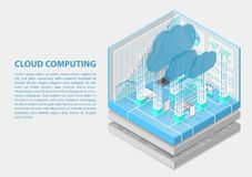 De isometrische vectorillustratie van Cloud Computing Abstracte 3D infographic met mobiele apparaten stock illustratie