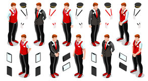 De isometrische Vectorillustratie van Person Work Icon Set Collection Stock Foto