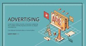 De isometrische vectorwebsite van het reclamebedrijf vector illustratie