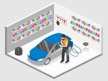 De isometrische vlakke 3D geïsoleerde garage van de concepten autodienst vector illustratie