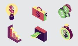 De isometrische Vlakke financiën van het ontwerppictogram plaatsen 2 Stock Foto's