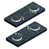 De isometrische Zwarte Mixer van DJ Volledig met Vinylspeler en Afstandsbediening Vector illustratie stock illustratie
