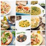 De Italiaanse collage van de deegwarenmengeling Stock Afbeeldingen