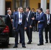 De Italiaanse Eerste minister Matteo Renzi ontmoet Russische President Vlad Royalty-vrije Stock Foto