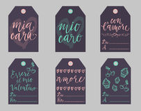 De Italiaanse geplaatste markeringen van de Valentijnskaartengift Stock Afbeeldingen
