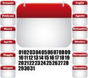 De Italiaanse pictogrammen van de kalender Royalty-vrije Stock Afbeelding