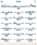De Italiaanse stedenhorizonnen isoleerden hoog gedetailleerde pictogrammen in tinten van blauw kleurenpalet Vector illustratie vector illustratie