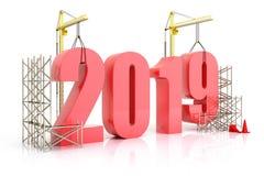 De de jaar 2019 groei, bouw, verbetering van zaken of in het algemeen concept in het jaar 2019, het 3d teruggeven Stock Foto's