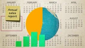 De jaarlijkse financiële grafiek van het verkooprapport heft de rotatie van de aardebol op lichte dynamische op de motieachtergro stock illustratie