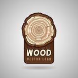 De jaarlijkse ringen van de boomgroei, vector het embleemmalplaatje van de boomstamdwarsdoorsnede hipster royalty-vrije illustratie