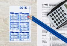 De jaarlijkse Tijd van de Belastingsvoorbereiding Royalty-vrije Stock Foto's