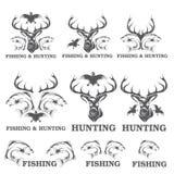 de jacht en visserij etiketten en ontwerpelementen Stock Fotografie