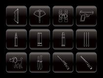 De jacht en wapensPictogrammen Royalty-vrije Stock Afbeeldingen