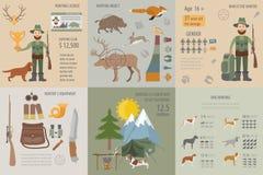 De jacht infographic malplaatje Hond de jacht, materiaal, statistica Stock Afbeeldingen