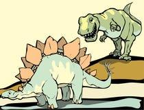 De jacht van Stegasaurus Stock Fotografie