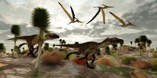 De Jacht van Utahraptor royalty-vrije illustratie