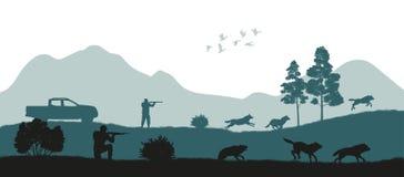 De jacht van de wolven Zwart silhouet van jagers stock illustratie