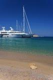 De jachten van de luxe, het eiland van Rhodos Stock Foto