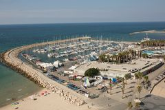 De jachthaven hoogste mening van Tel Aviv stock foto's