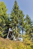De jachttoren in alpien hout Westelijke Carinthia, Oostenrijk Royalty-vrije Stock Fotografie
