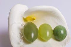 De jadeeieren liggen op een witte bloem Stock Foto's