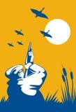 De jager die van de eend jachtgeweer streeft stock illustratie