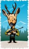 De jager die van herten een geweer houdt Royalty-vrije Stock Afbeeldingen