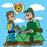 De jager wordt verteld over een leeuw in het hout Royalty-vrije Stock Afbeelding