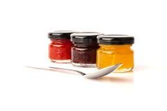 De jam, de pruim, en de tomaat van de perzik. Royalty-vrije Stock Foto's