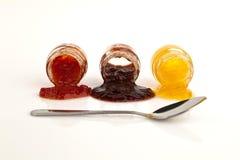 De jam, de pruim, en de tomaat van de perzik. Royalty-vrije Stock Afbeelding