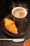 De Jam van de croissant en van de Abrikoos royalty-vrije stock afbeeldingen