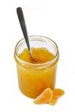 De jam van de mandarijn met lepel Stock Foto's