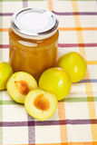 De jam van de pruim en sommige verse vruchten Royalty-vrije Stock Foto's