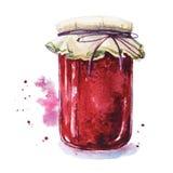 De jam van het fruit Mason Jar Stock Afbeelding