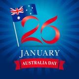 26 de janeiro azul feliz do cartão do dia de Austrália Fotos de Stock