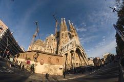 31 de janeiro de 2016 Barcelona, Espanha Os trabalhos na catedral de Sagrada Familia estão progredindo Fotos de Stock