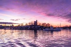 21 de janeiro de 2017: Crepúsculo na maneira à ilha o de Djurgarden Imagens de Stock Royalty Free
