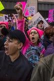 21 DE JANEIRO DE 2017, LOS ANGELES, CA 750.000 participam no março das mulheres, ativistas que protestam Donald J Trunfo na nação Fotografia de Stock Royalty Free