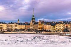 21 de janeiro de 2017: Panorama da cidade velha de Éstocolmo, Suécia Fotografia de Stock