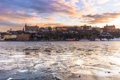 21 de janeiro de 2017: Panorama de Éstocolmo no inverno, Suécia Fotografia de Stock Royalty Free