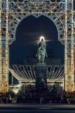 14 de janeiro de 2018 Rússia, Moscou, rua de Tverskaya Um monumento ao fundador de Moscou Yury Dolgorukiy Ni Foto de Stock Royalty Free