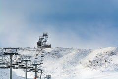 4 de janeiro de 2019 Sillian, Áustria: O elevador de cadeira de Gadein no inverno fotografia de stock
