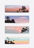 De Japanse banner van de de zonsonderganghemel van het kasteellandschap, de pijnboomboom en sakura silhouetteren referentie Stock Afbeeldingen